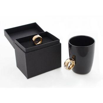 Κούπα Μονόπετρο μαύρη με χρυσό δαχτυλίδι