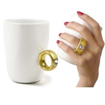 Κούπα Μονόπετρο άσπρη με χρυσό δακτυλίδι