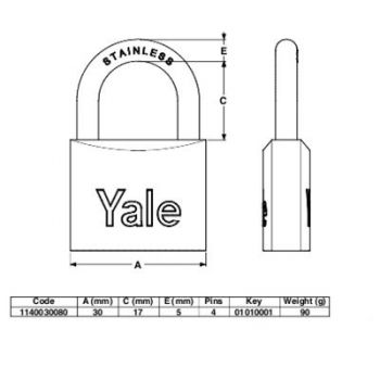 Λουκέτο Θαλάσσης Yale